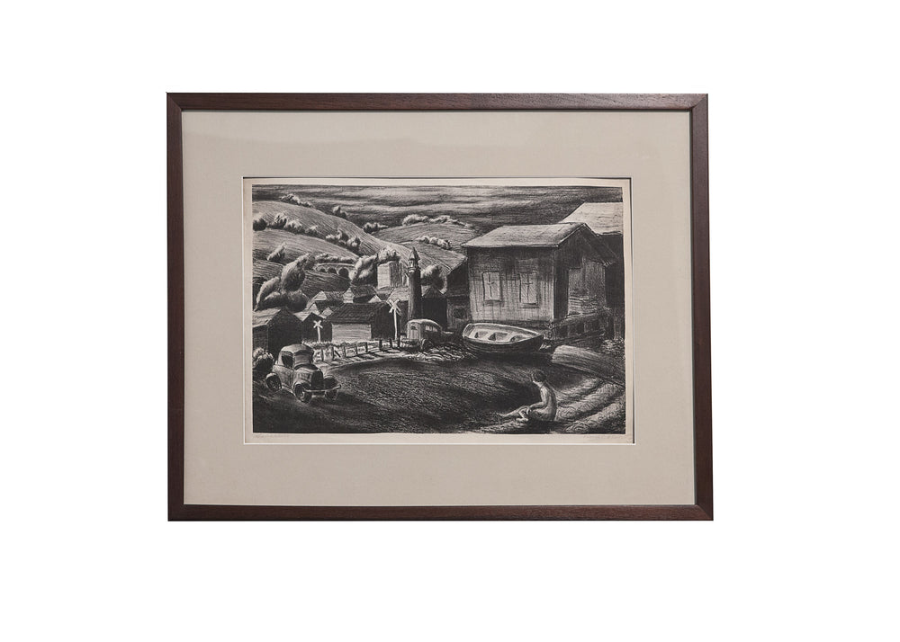 "WPA era, original Lithograph signed by artist, David P. Chun titled ""Salinas"" Depression Era Realism"
