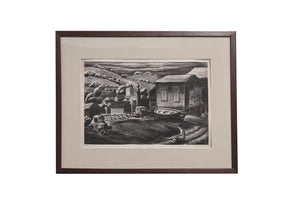 "Load image into Gallery viewer, WPA era, original Lithograph signed by artist, David P. Chun titled ""Salinas"" Depression Era Realism - City of Z Design"