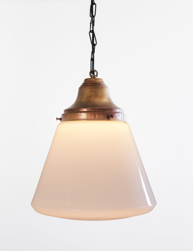 Vintage Schoolhouse Pendant Light with copper canopy from Denmark - City of Z Design
