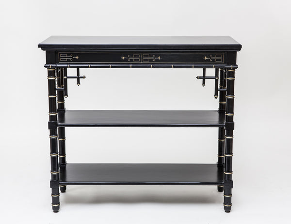 Antique Console Table, Black Lacquer with Gilding and Onyx Top - City of Z Design