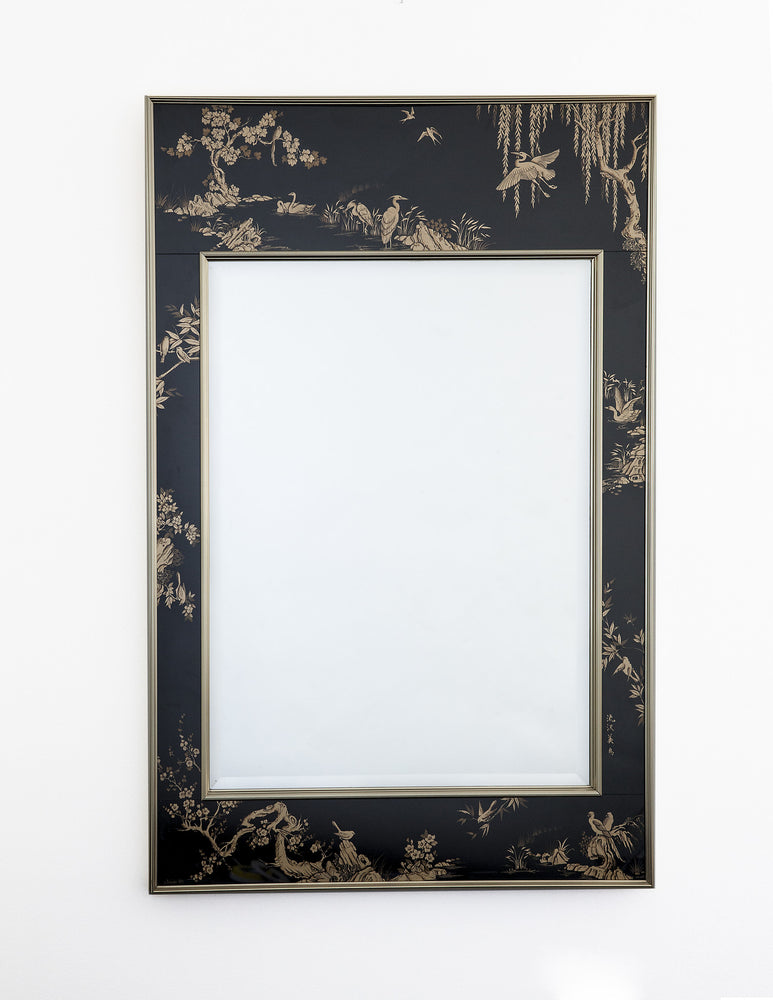 Vintage Chinoiserie, Black & Gold Large Wall Mirror by LaBarge