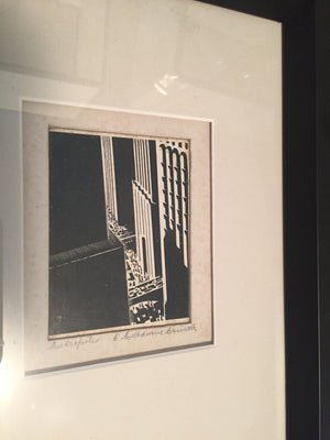 Load image into Gallery viewer, Vintage Scratchboard by Melbourne Brindle Circa 1930, Custom framed and matted - City of Z Design