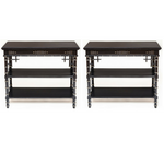 Pair of Antique Victorian Occasional Tables with Black Onyx Top