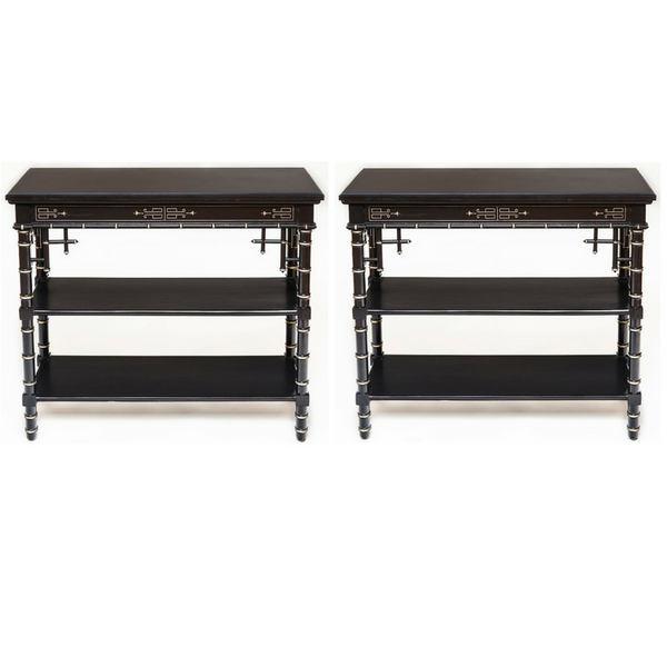 Pair of Antique Ebonized Etagere with Black Onyx Stone Top - City of Z Design