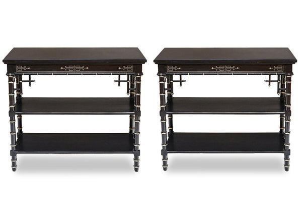 Antique Occasional Tables with Black Onyx top