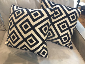 Throw Pillows, Lee Jofa Groundworks Fiorentina Cut Velvet Fabric, Geometric Pattern - City of Z Design