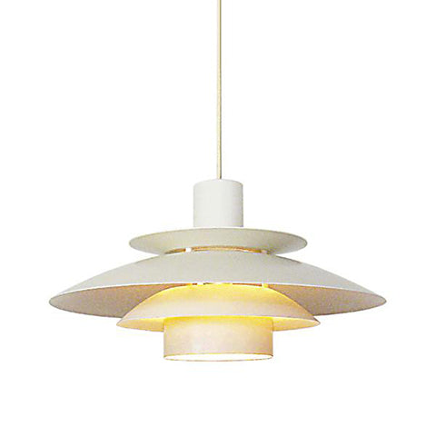Mid-Century White Metal Pendant Light in the manner of Louis Poulsen - City of Z Design