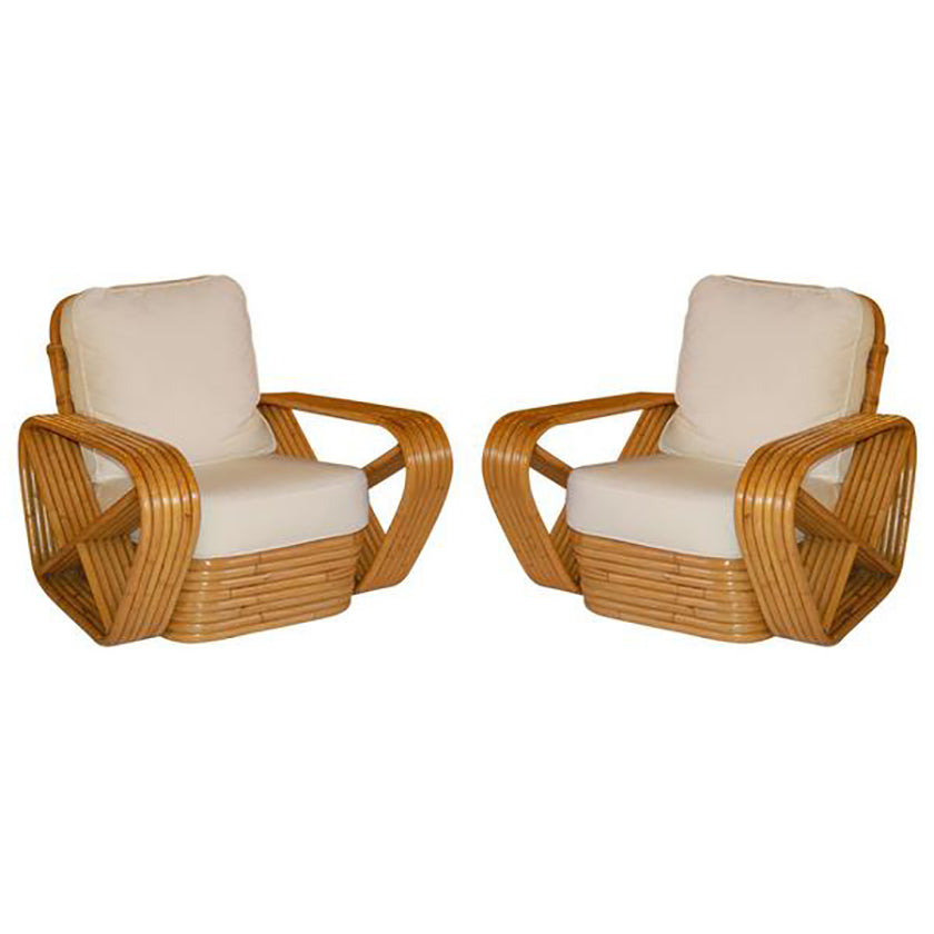 PAIR of Paul Frankl inspired Square Pretzel Rattan Lounge Chairs - City of Z Design