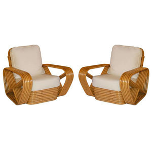 PAIR of Paul Frankl inspired Square Pretzel Rattan Lounge Chairs