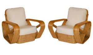 Paul Frankl inspired Square Pretzel Rattan Lounge Chairs - City of Z Design
