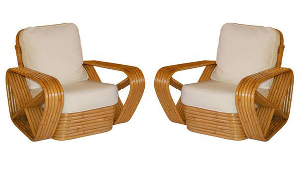 Paul Frankl inspired Square Pretzel Rattan Lounge Chairs
