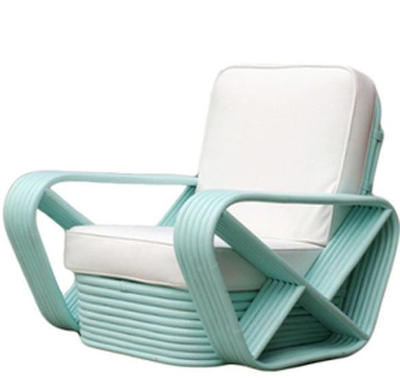 PAIR of Vintage Rattan Lounge Chairs in Teal