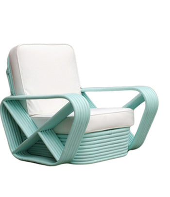 PAIR of Vintage Rattan Lounge Chairs in Teal - City of Z Design