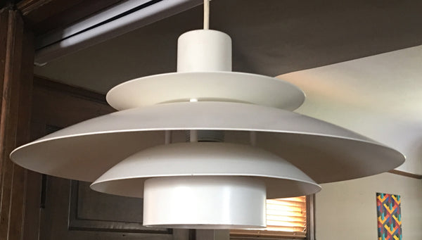 Mid-Century White Metal Pendant Light in the manner of Louis Poulsen