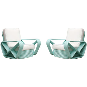 Vintage Rattan Lounge Chairs in Teal - City of Z Design