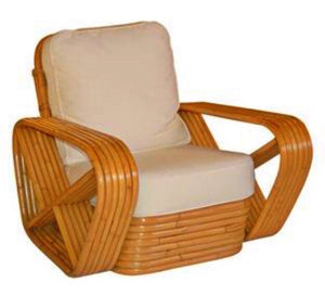 Paul Frankl inspired Square Pretzel Rattan Lounge Chairs - Los Angeles Boho Chic