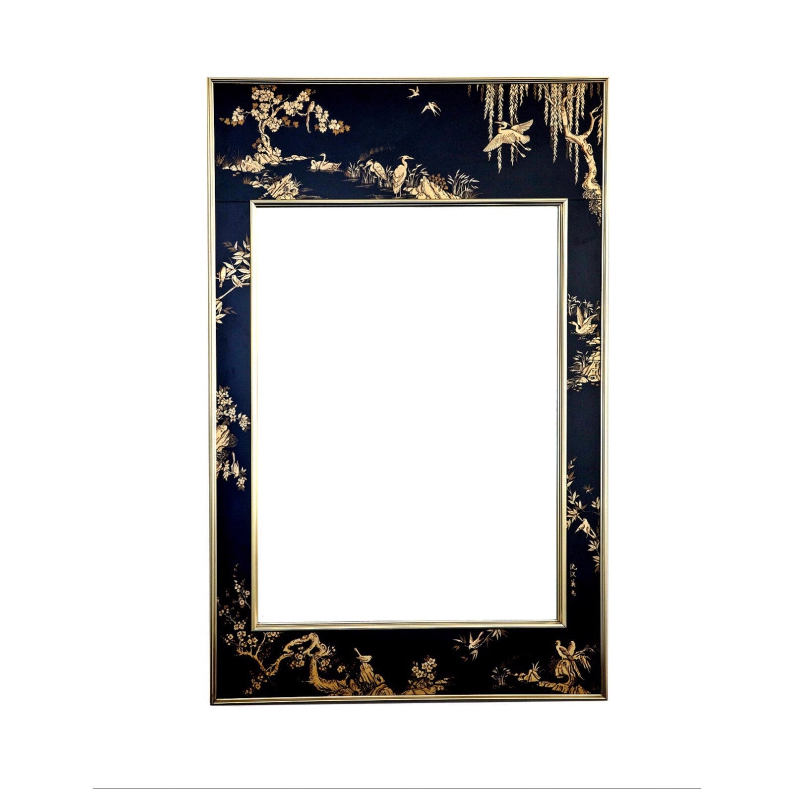 ... Vintage Chinoiserie, Black U0026 Gold Large Wall Mirror By LaBarge   City  Of Z Design