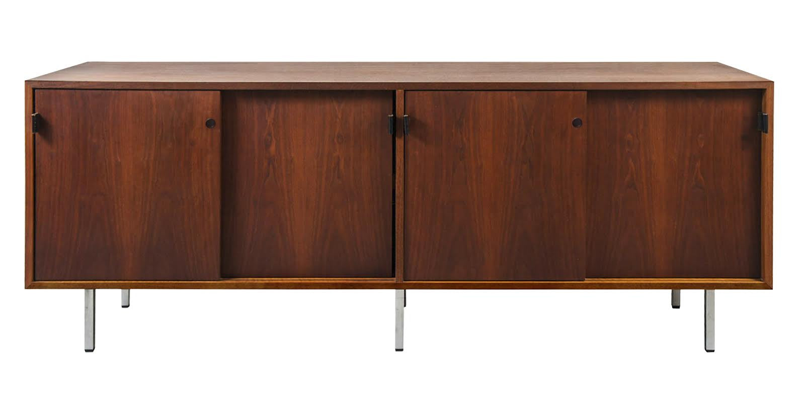 Mid Century Florence Knoll Walnut Credenza With Chrome Legs   City Of Z  Design