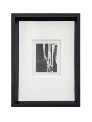 Vintage Scratchboard by Melbourne Brindle Circa 1930, Custom framed and matted - City of Z Design