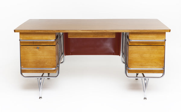 Mid-Century Desk by Kem Weber, custom Maple top, Chrome Tubular Frame - City of Z Design