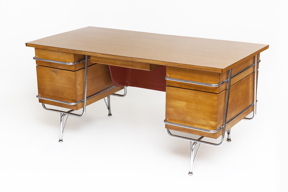 Mid-Century Maple Desk with Chrome Tubular Frame by Kem Weber