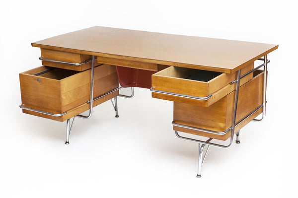 Mid-Century Kem Weber Desk with Custom Maple Top