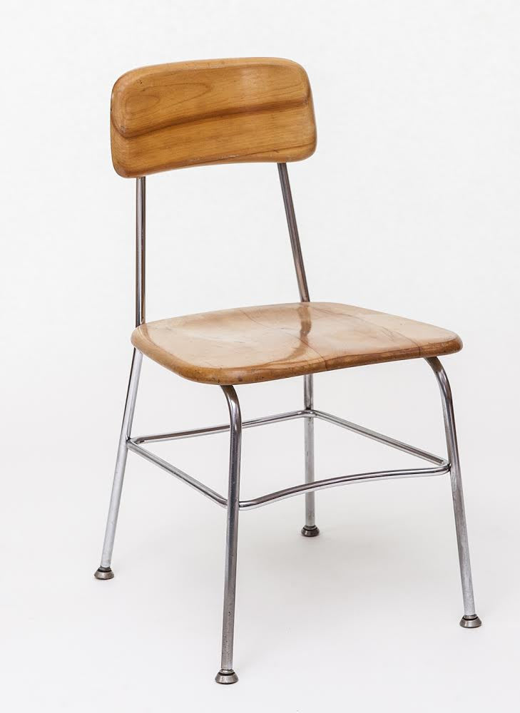 Vintage Chrome Tubular Chair With Maple Seat And Back By Kem Weber   City  Of Z Design