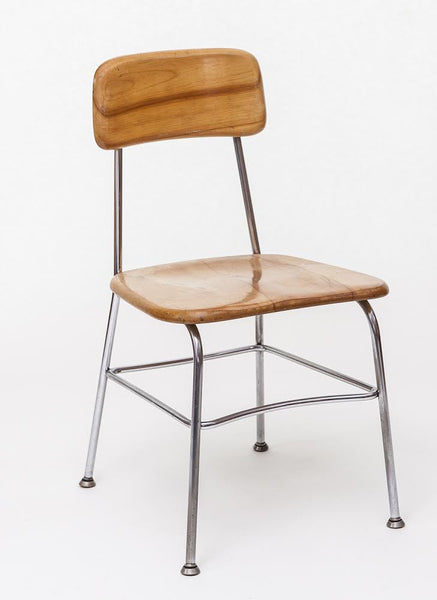 Mid-Century Desk Chair in Maple with Tubular Chrome by Kem Weber - City of Z Design