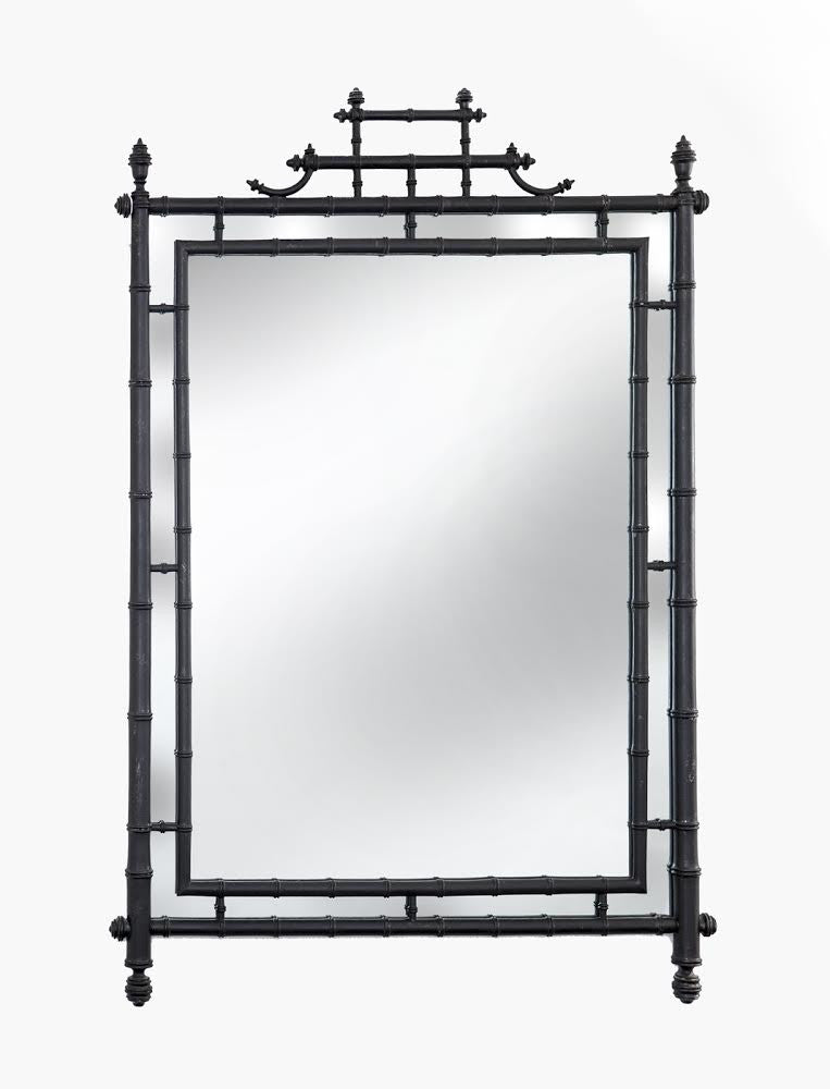Turned Bamboo Chinoiserie Wall Mirror in Black - City of Z Design