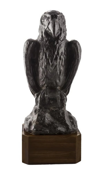 Antique Statue, Cast Lead Falcon Statuette on custom Walnut base - City of Z Design