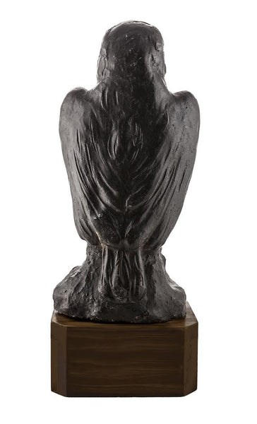 Antique Falcon Statuette Cast Lead with Custom Black Walnut Base - City of Z Design