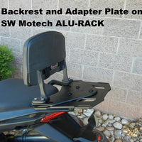 Backrest and Adapter Plate for attaching to SW MOTECH ALU-RACK for the Honda  NC700/750 NC700S/X and 750 S/X.