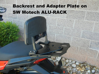 Backrest and Adapter Plate for attaching to SW MOTECH ALU-RACK for the Kawasaki Versys 650 07-'10 and '11-'14. 2007-2010 and 2011-2014