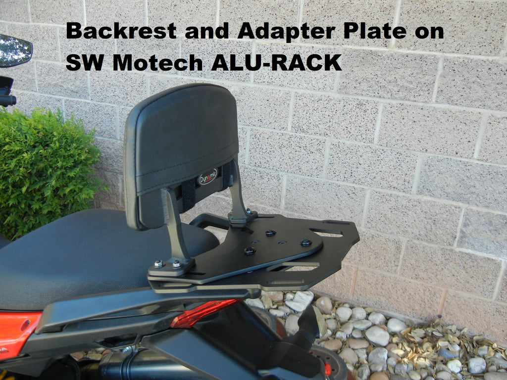 Backrest and Adapter Plate for attaching to SW MOTECH ALU-RACK for the SUZUKI GSF/GSX BANDIT. Works with GSF 600, GSF650/S, GSX650, GSF1200/S , GSF1250 , GSF/X1250F, GSX 1400 .GSF 600, GSF 650/S, GSX 650, GSF 1200/S , GSF 1250 , GSF/X 1250F, GSX 1400