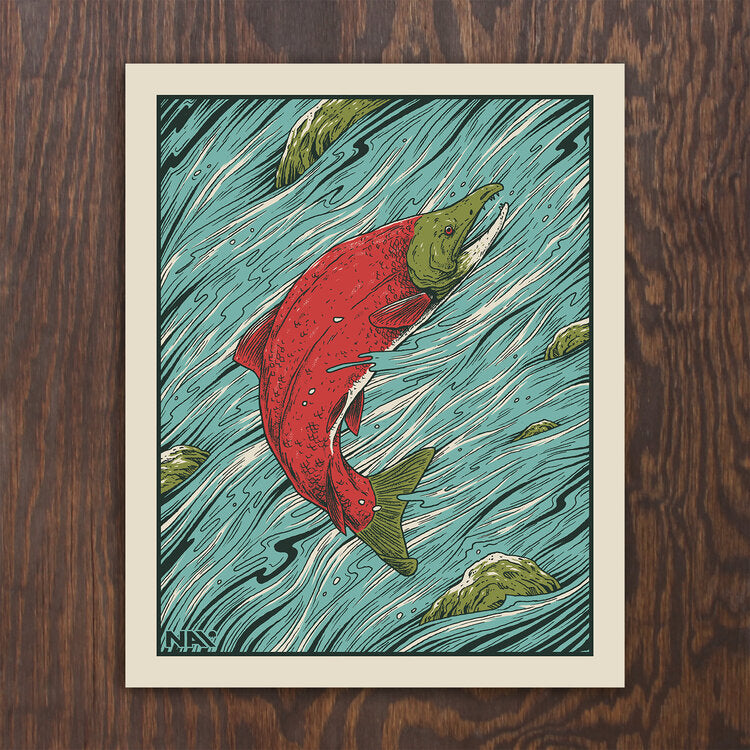 North American Icons - Salmon Screen Print