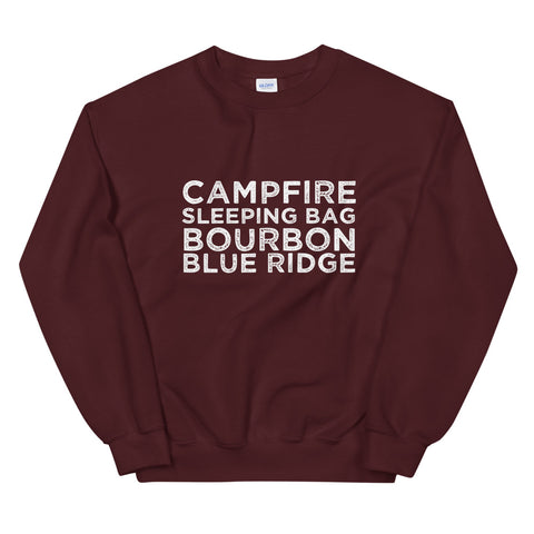 """Campfire, Sleeping Bag, Bourbon"" BRO Sweatshirt"