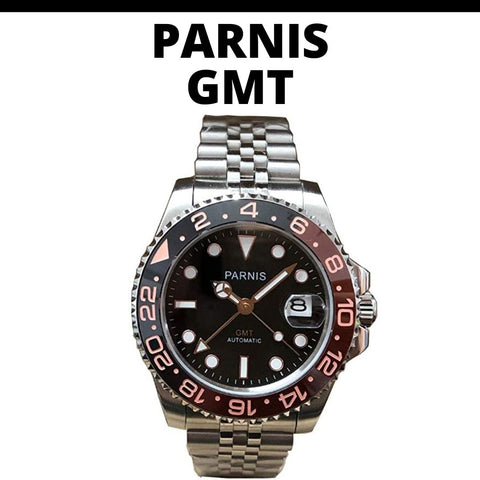 Parnis Root Beer GMT Watch