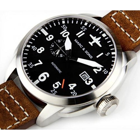 MARC & SONS Automatic Pilot Watch  MSF-003 - Watchfinder General - UK suppliers of Russian Vostok Parnis Watches MWC G10  - 2