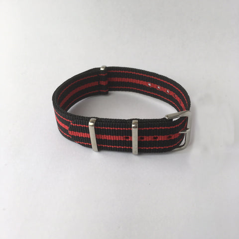 Black & Red 3 Stripes Nato Strap