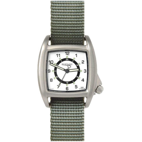 Bertucci C-1T White Dial Lusso Field Watch (Defender Drab Strap) 16019