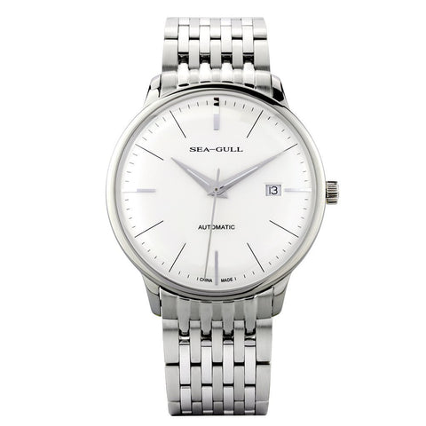 Sea-Gull White Automatic Dress Watch with Sapphire Crystal - 816.519