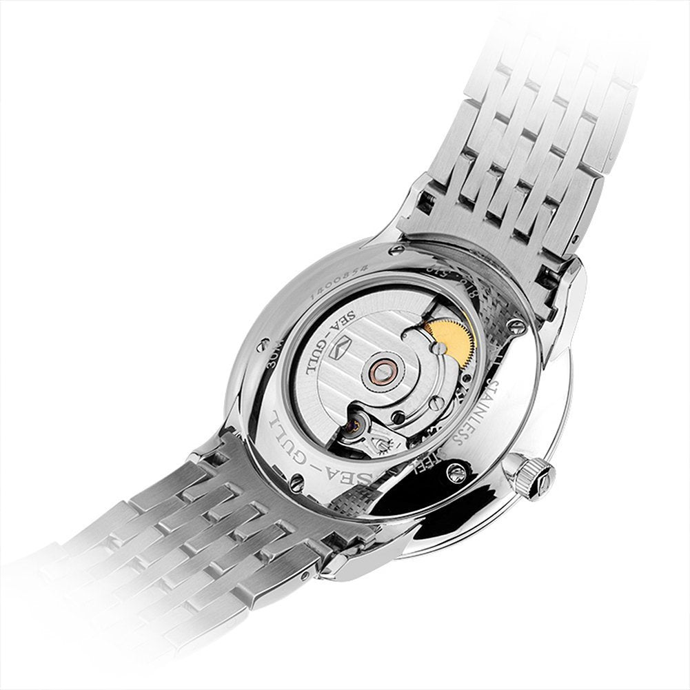 Sea-Gull Black Automatic Dress Watch with Sapphire Crystal - 816.519.Bl