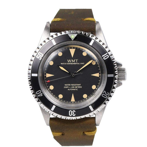 Walter Mitt Royal Marine Automatic Diver Watch Black with Brown Strap