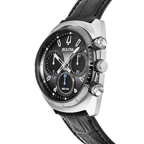 Bulova Curv Chronograph Quartz Watch with Leather Strap - 98A155