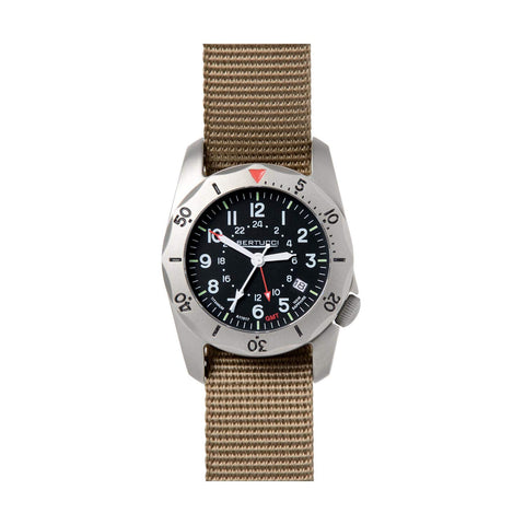 Bertucci A-2TR Black Vintage Titanium GMT Watch (Tan Strap) 12119