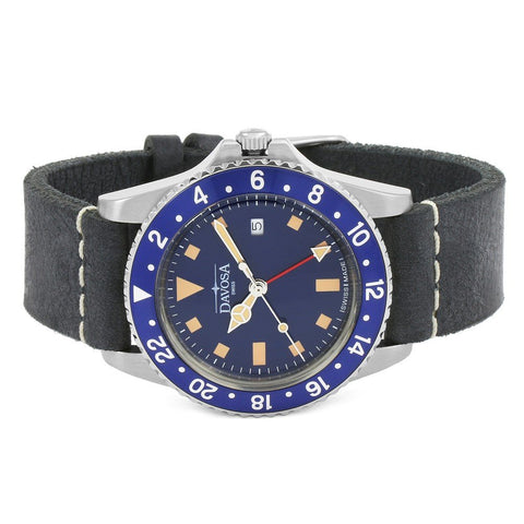 Davosa Vintage Diver in Blue with Leather Strap Watch - 16250045