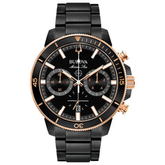 Bulova Marine Star Black Stainless Steel Chronograph Watch on Bracelet - 98B302