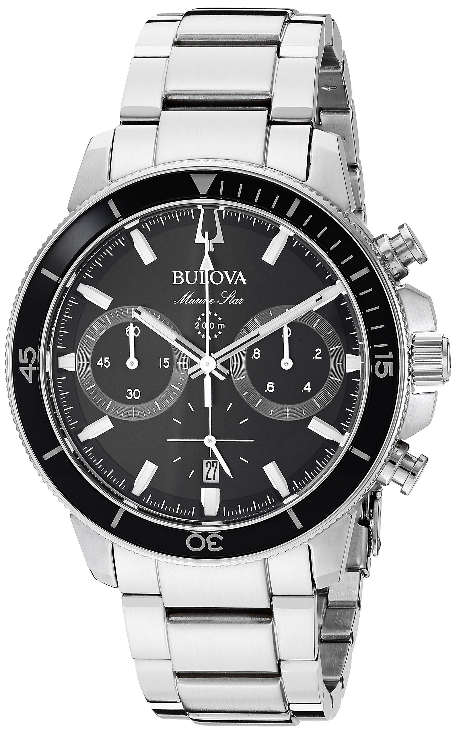 bulova men's black stainless steel chronograph watch