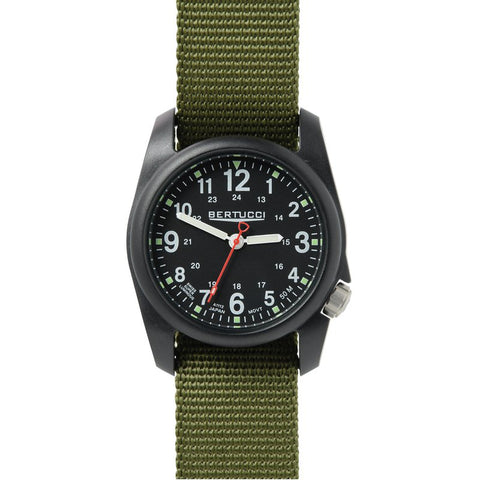 Bertucci DX3 Black Resin Watch, Olive Nylon Strap, Black Dial - 11016
