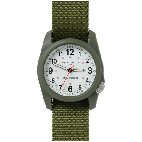 Bertucci DX3 Field Olive Resin Watch, Forest Nylon Strap, White Dial - 11019